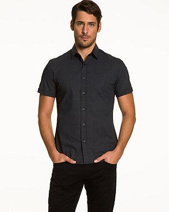 Printed Stretch Poplin Slim Fit Shirt