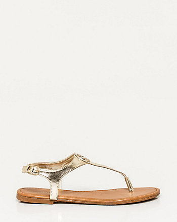 Metallic Leather-Like Thong Sandal