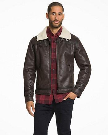 Suede-Like & Faux Sherpa Mailman Jacket