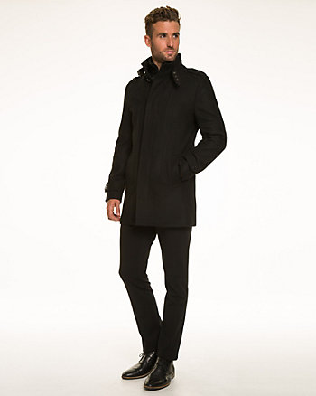 Wool Blend Melton Funnel Neck Car Coat