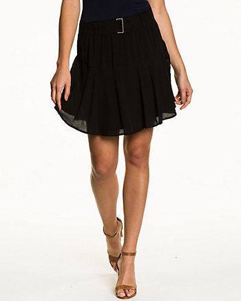 Challis Pleated Fit & Flare Skirt
