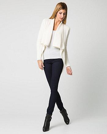 Cotton Blend Open-Front Cardigan