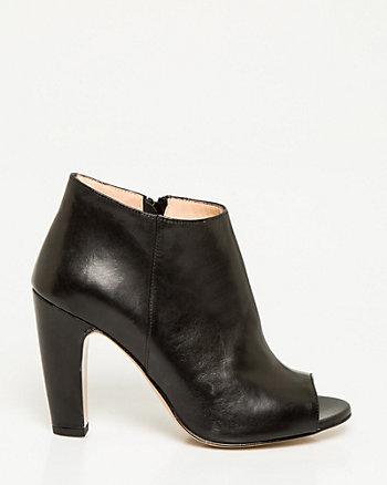 Italian-Made Leather Peep Toe Shootie