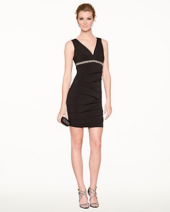 Knit Pleated V-Neck Cocktail Dress