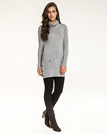Viscose Blend Funnel Neck Tunic Sweater