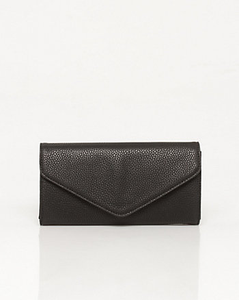 Pebble Leather-Like Envelope Clutch