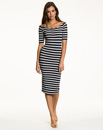 Striped Jersey Boat Neck Midi Dress