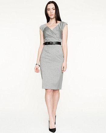 Flocked Dot V-Neck Shift Dress