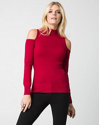 Viscose Blend Cold Shoulder Sweater