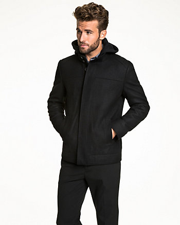 Wool Blend Melton Hooded Mailman Jacket