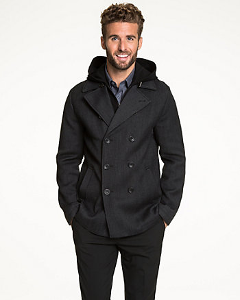 Textured Wool Double Breasted Peacoat