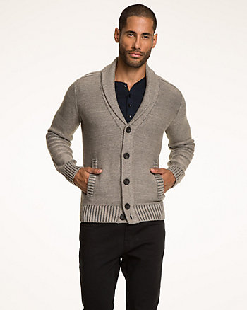 Tonal Pattern Cotton Shawl Collar Cardigan