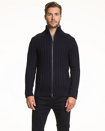 Ribbed Cotton Zip Front Cardigan