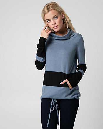 Stripe Cotton Blend Cowl Neck Sweater