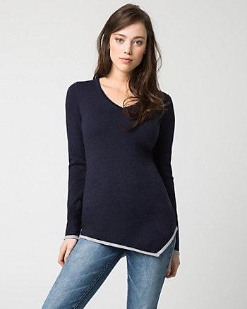 Cotton Blend V-Neck Sweater