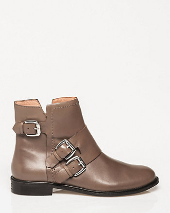 Leather Round Toe Ankle Boot