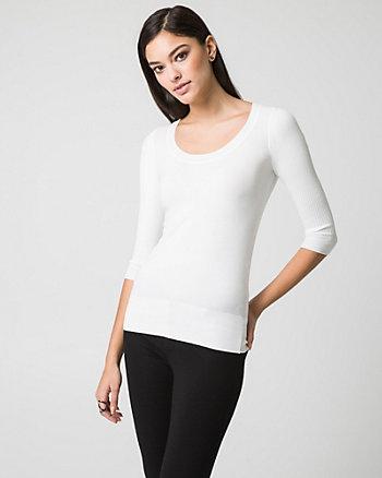 Viscose Blend Scoop Neck Sweater