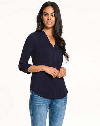 Challis Mao Collar Button-Front Blouse