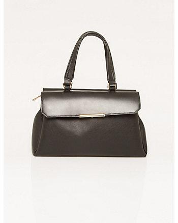 Textured Leather-Like Satchel