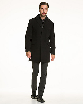 Wool Blend Velour Crombie Coat