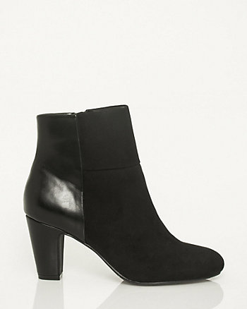 Microfibre & Leather-Like Combo Ankle Boot