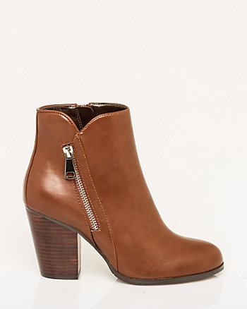 Leather-Like Almond Toe Ankle Boot