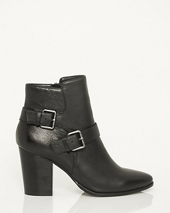Leather Buckle Ankle Boot