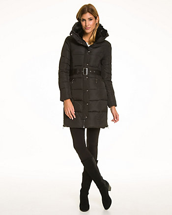 Nylon Puffer Coat with Faux Fur Trim