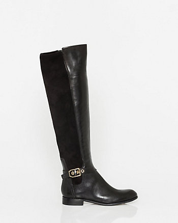 Leather & Elastic Panel Over-the-Knee Boot