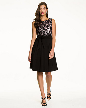 Lace & Bengaline Cocktail Dress