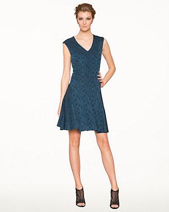 Jacquard V-Neck Fit & Flare Dress