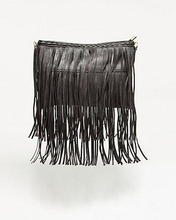 Leather-Like Fringe Crossbody Bag