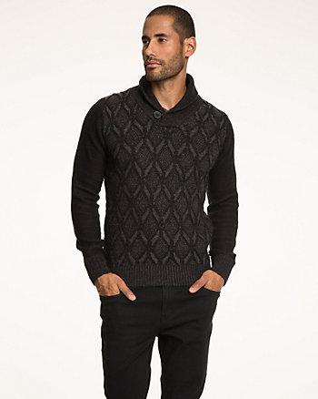 Cotton Blend Shawl Collar Sweater
