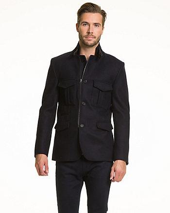 Melton & Leather-Like Slim Fit Blazer