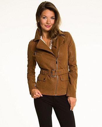 Suede-Like Belted Jacket
