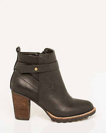 Leather-Like Round Toe Bootie