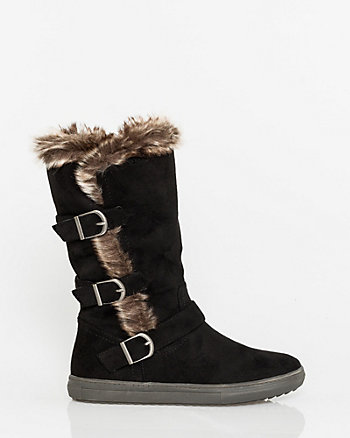 Suede-Like & Faux Fur Mid Calf Boot