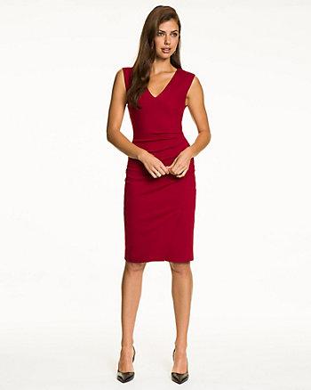 Ponte V-Neck Front Slit Dress