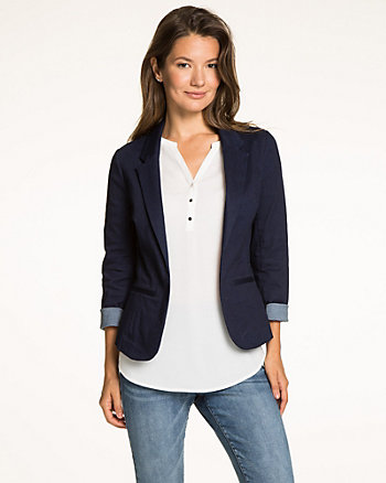 Stretch Denim Open-Front Blazer