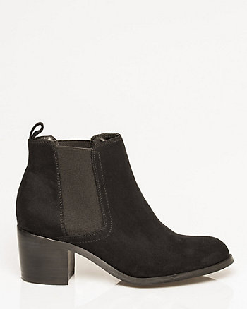 Suede-Like Almond Toe Ankle Boot