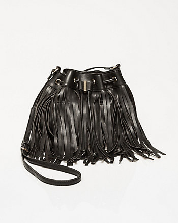 Leather-Like Fringe Bucket Bag