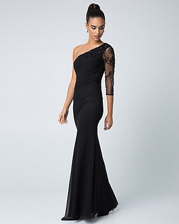 Beaded Mesh & Knit One Shoulder Gown