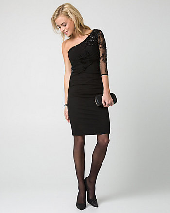 Beaded Mesh & Knit Cocktail Dress
