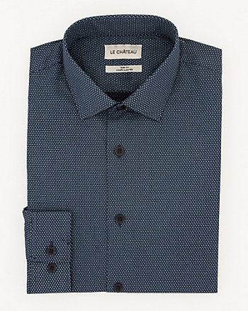 Dot Print Cotton Slim Fit Shirt
