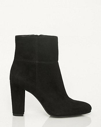 Suede Block Heel Ankle Boot