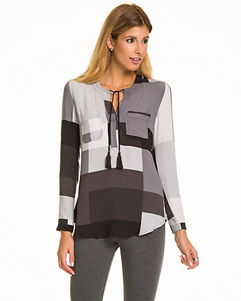 Patchwork Print Textured Crêpe  Blouse