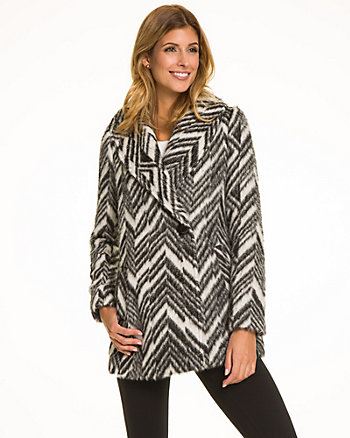Chevron Print Wool Blend Coat