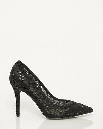 Satin & Lace Embellished Pointy Toe Pump
