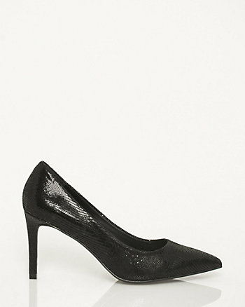 Snake Embossed Leather Pointy Toe Pump