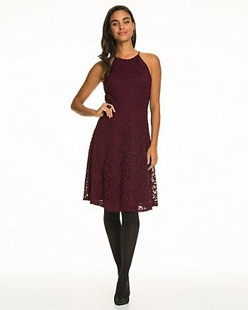Lace Halter Neck Fit & Flare Dress